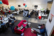 Employees work at their desks and on couches at the Pinterest office in San Francisco on Wednesday October 24, 2012. Pinterest is a content sharing service that allows users to pin images on their virtual pin-board. (Photo by Jakub Mosur/For Boston Globe)