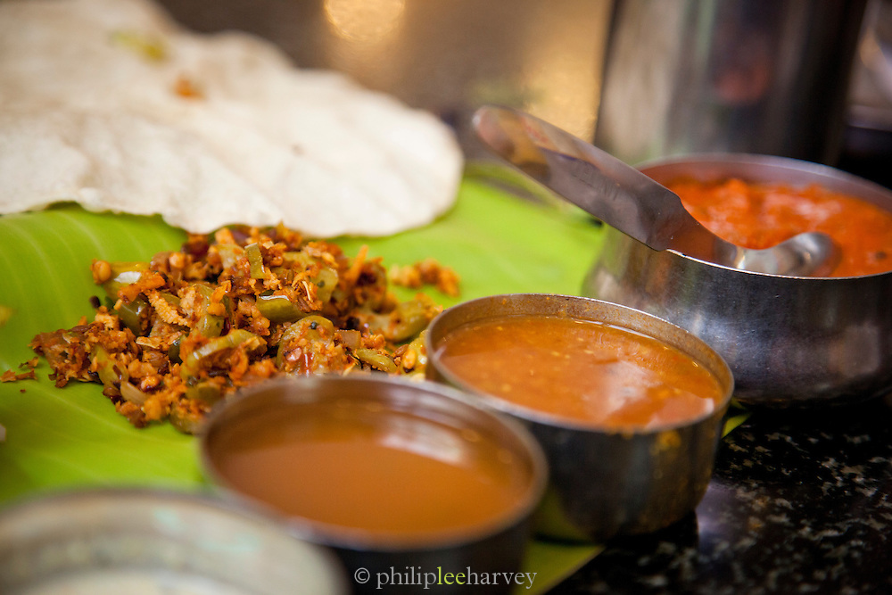 Local curry lunch in a small diner in Trivandrum (Thiruvananthapuram), Kerala, India