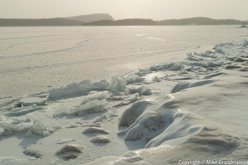 Shoreline of Lake Superior in winter.<br />Rossport<br />Ontario<br />Canada