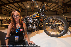 Cindy Panarra on the Industry party night for Michael Lichter's tattoo themed Skin & Bones Motorcycles as Art exhibition at the Buffalo Chip during the annual Sturgis Black Hills Motorcycle Rally.  SD, USA.  August 7, 2016.  Photography ©2016 Michael Lichter.
