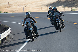 Buzz Kanter riding his 1936 Harley-Davidson VLH with Paul Ousey on his 1925 Harley-Davidson JE and Steve Simpson on his 1928 Harley-Davidson JD during Stage 15 (244 miles) of the Motorcycle Cannonball Cross-Country Endurance Run, which on this day ran from Lewiston, Idaho to Yakima, WA, USA. Saturday, September 20, 2014.  Photography ©2014 Michael Lichter.