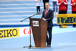 07.03.2014, Ergo Arena, Sopot, POL, IAAF, Leichtathletik Indoor WM, Sopot 2014, Tag 1, im Bild DONALD TUSK // DONALD TUSK during day one of IAAF World Indoor Championships Sopot 2014 at the Ergo Arena in Sopot, Poland on 2014/03/07. EXPA Pictures © 2014, PhotoCredit: EXPA/ Newspix/ Piotr Matusewicz<br /> <br /> *****ATTENTION - for AUT, SLO, CRO, SRB, BIH, MAZ, TUR, SUI, SWE only*****