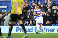 Queens Park Rangers forward Conor Washington (9) celebrating scoring 1-2 during the EFL Sky Bet Championship match between Queens Park Rangers and Burton Albion at the Loftus Road Stadium, London, England on 28 January 2017. Photo by Matthew Redman.