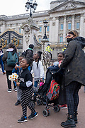 Following the official announcement of the death at age 99 of Prince Phillip, the Duke of Edinburgh, consort to Queen Elizabeth II, crowds gather outside Buckingham Palace, on 9th April 2021, in London, Emgland.