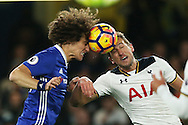 David Luiz of Chelsea and Harry Kane of Tottenham Hotspur attempt to head the ball. Premier league match, Chelsea v Tottenham Hotspur at Stamford Bridge in London on Saturday 26th November 2016.<br /> pic by John Patrick Fletcher, Andrew Orchard sports photography.