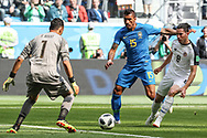 Paulinho of Brazil vies with Keylor Navasn Bryan Oviedo of Costa Rica during the 2018 FIFA World Cup Russia, Group E football match between Brazil and Costa Rica on June 22, 2018 at Saint Petersburg Stadium in Saint Petersburg, Russia - Photo Thiago Bernardes / FramePhoto / ProSportsImages / DPPI