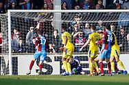 Goal scored by  Scunthorpe United forward Lee Novak (17)  during the EFL Sky Bet League 1 match between Scunthorpe United and AFC Wimbledon at Glanford Park, Scunthorpe, England on 30 March 2019.