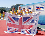 Lucerne, SWITZERLAND,  A Finals, GBR W4X, Gold Medallist, left Katherine GRAINGER, Frances HOUGHTON, Debbie FLOOD and Annie VERNON,  at the 2007 FISA World Cup, Lucerne, on the Rotsee Lake, 15/07/2007  [Mandatory Credit Peter Spurrier/ Intersport Images] , Rowing Course, Lake Rottsee, Lucerne, SWITZERLAND.