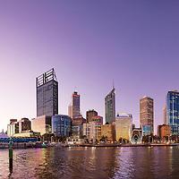 Perth city skyline from Elizabeth Quay with sculpture Spanda by Christian de Vietri