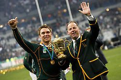 Oct 20, 2007 - Paris, France - Rugby World Cup 2007: Joy of John Smit with Jake White. South Africa beat England 15-6 in the final match to win the Cup.  (Credit Image: © M. Robinot/Fep/Panoramic/ZUMA Press)