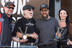 Willie G. Davidson and Bill Davidson present Scott Santore with the Willie G. Davidson award and the People's Choice award for his 1952 panhead during the Harley-Davidson Editors Choice Custom Bike Show at the annual Sturgis Black Hills Motorcycle Rally.  SD, USA.  August 8, 2016.  Photography ©2016 Michael Lichter.