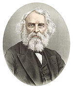 Henry Wadsworth Longfellow (1807-1882) American poet. Tinted portrait published London c1880. Tinted lithograph.