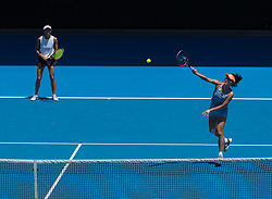 MELBOURNE, Jan. 24, 2018  Peng Shuai (R) of China and Hsieh Su-Wei of Chinese Taipei compete during the women's doubles semifinal against Timea Babos of Hungary and Kristina Mladenovic of France at Australian Open 2018 in Melbourne, Australia, Jan. 24, 2018. Timea Babos and Kristina Mladenovic won 2-0 to enter the final. (Credit Image: © Zhu Hongye/Xinhua via ZUMA Wire)