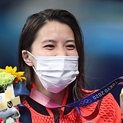 TOKYO, JAPAN - JULY 25   Yui Ohashi of Japan with her gold medal after winning the 400m Individual Medley for Women during the Swimming Finals at the Tokyo Aquatic Centre at the Tokyo 2020 Summer Olympic Games on July 25, 2021 in Tokyo, Japan. (Photo by Tim Clayton/Corbis via Getty Images)