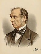 'Roundell Palmer, 1st Earl Selbourne (1812-1895) c1880, English lawyer and  Liberal politician. He served twice as Lord Chancellor of Great Britain under  William Gladstone, 1872-1874 and 1880-1885. Tinted lithograph c1880.'