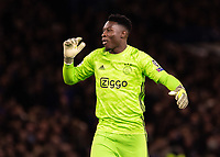 Football - 2019 / 2020 UEFA Champions League - Group H: Chelsea vs. Ajax<br /> <br /> Andre Onana (Ajax FC) reacts after his team score direct from a corner at Stamford Bridge <br /> <br /> COLORSPORT/DANIEL BEARHAM