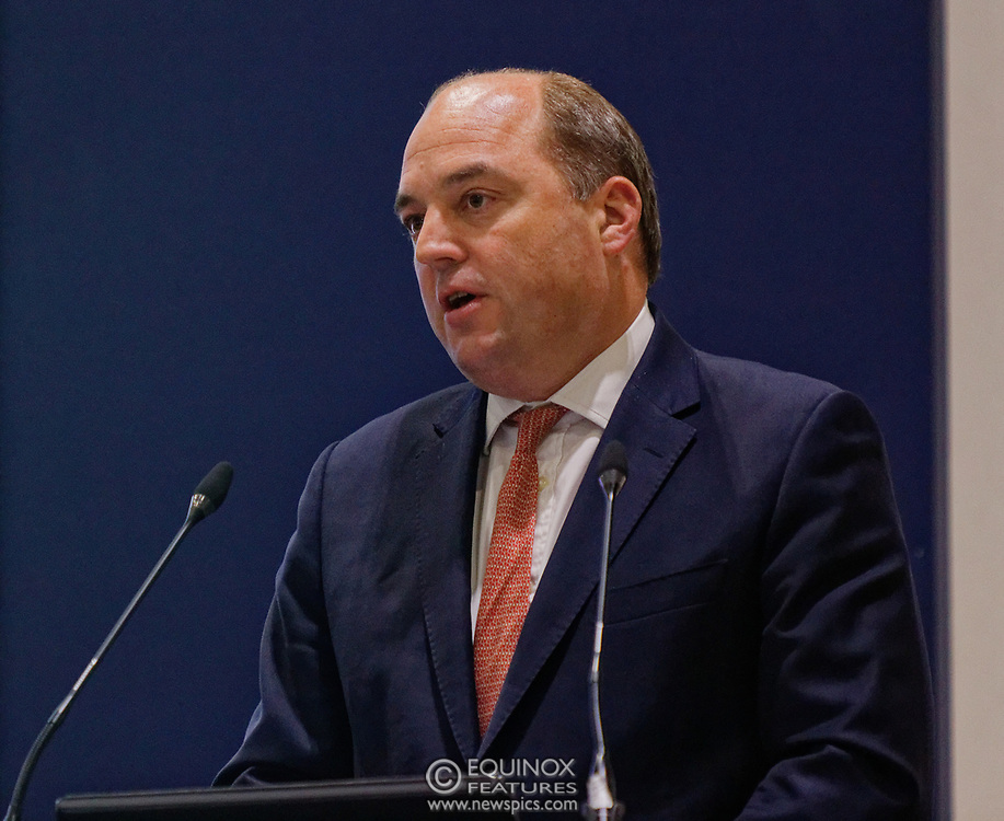 London, United Kingdom - 11 September 2019<br /> The Rt Hon Ben Wallace MP. Secretary of State for Defence for the UK Government presents keynote address speech to audience at DSEI 2019 security, defence and arms fair at ExCeL London exhibition centre.<br /> (photo by: EQUINOXFEATURES.COM)<br /> Picture Data:<br /> Photographer: Equinox Features<br /> Copyright: ©2019 Equinox Licensing Ltd. +443700 780000<br /> Contact: Equinox Features<br /> Date Taken: 20190911<br /> Time Taken: 12391500<br /> www.newspics.com