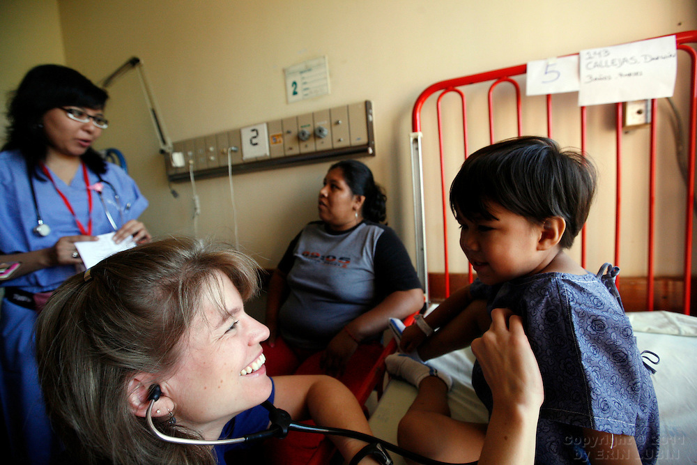 Pediatrician Pamela Kingma examines Darwin Callejas, 3, before he goes to surgery with Operation Smile Tuesday morning, November 13, 2007, at the Hospital Japones in Santa Cruz, Bolivia...Photograph by Erin Lubin