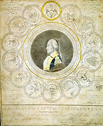 A Display of the United States of America':   Portrait of George Washington 'President of the United States. Protector of his country ... Supporter of the rights of mankind',  surrounded seals of 13 states and Seal of the United States. Engraving.