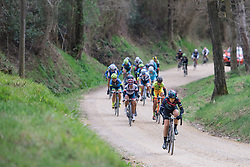 Tiffany Cromwell taps a steady rhythm across the gravel - 2016 Strade Bianche - Elite Women, a 121km road race from Siena to Piazza del Campo on March 5, 2016 in Tuscany, Italy.