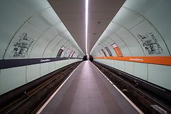 Glasgow, Scotland, UK. 1 April, 2020. Effects of Coronavirus lockdown on Glasgow life, Scotland. Empty platform on the Glasgow Subway.