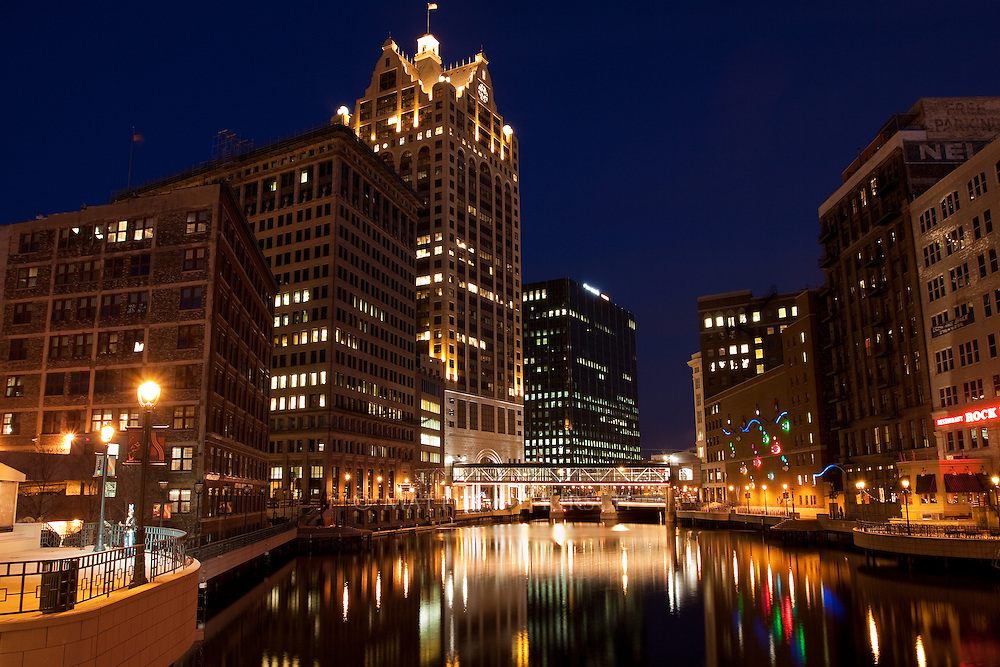 This image is of downtown Milwaukee, particularly the riverwalk area. Executing this image was no small feat as the sidewalk I had to stand on is part of liftbridge that has a lot of traffic going over it. This translates to a lot of vibrations. With exposures reaching 20 - 30 seconds timing the traffic was key.