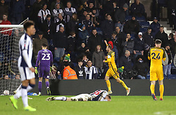 """Brighton & Hove Albion's Glenn Murray celebrates scoring his side's third goal of the game during the FA Cup fourth round replay match at The Hawthorns, West Bromwich. PRESS ASSOCIATION Photo. Picture date: Tuesday February 5, 2019. See PA story SOCCER West Brom. Photo credit should read: Aaron Chown/PA Wire. RESTRICTIONS: EDITORIAL USE ONLY No use with unauthorised audio, video, data, fixture lists, club/league logos or """"live"""" services. Online in-match use limited to 120 images, no video emulation. No use in betting, games or single club/league/player publications."""