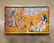 Ushabti box of Sched-es-en-mut. Egyptian painted wooden box panel of the deceased in front of a tree goddess, 1540-1075 BC . Neues Reiche Museum, Berlin. Cat No AM630 .<br /> <br /> If you prefer to buy from our ALAMY PHOTO LIBRARY  Collection visit : https://www.alamy.com/portfolio/paul-williams-funkystock/ancient-egyptian-art-artefacts.html  . Type -   Neues    - into the LOWER SEARCH WITHIN GALLERY box. Refine search by adding background colour, subject etc<br /> <br /> Visit our ANCIENT WORLD PHOTO COLLECTIONS for more photos to download or buy as wall art prints https://funkystock.photoshelter.com/gallery-collection/Ancient-World-Art-Antiquities-Historic-Sites-Pictures-Images-of/C00006u26yqSkDOM