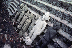 Aztec Steps of Pyramid and Statues