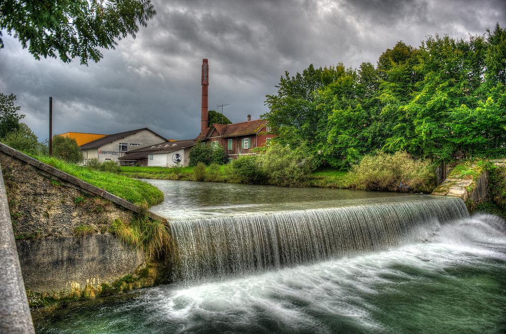 Appenzell - waterfall and Alpenbitter factory