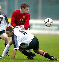 ◊Copyright:<br />GEPA pictures<br />◊Photographer:<br />Dominic Ebenbichler<br />◊Name:<br />Asinger<br />◊Rubric:<br />Sport<br />◊Type:<br />Fussball<br />◊Event:<br />Europa Jugendcup 2004, internationaler U-17 Jugendcup, Nationalteam Oesterreich vs Manchester United<br />◊Site:<br />Bludenz, Austria<br />◊Date:<br />10/04/04<br />◊Description:<br />Andre Asinger (AUT), Darran Gibson (Manchester)<br />◊Archive:<br />DCSDE-100404709<br />◊RegDate:<br />10.04.2004<br />◊Note:<br />8 MB - KA/KA