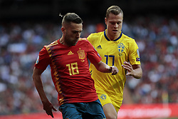 Spain national team player Jordi Alba and Sweden national team player Viktor Claesson during UEFA EURO 2020 Qualifier match between Spain and Sweden at Santiago Bernabeu Stadium in Madrid, Spain. June 10, 2019. Photo by A. Perez Meca/Alterphotos/ABACAPRESS.COM