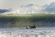 Alaskan surfer Don 'Iceman' McNamara paddles out through overhead surf waves during a cold winter session with snow covered mountains in the background. Homer, Alaska, USA.