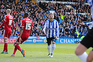 Sheffield Wednesday striker Gary Hooper (14) celebrates the opening goal 1-0 during the Sky Bet Championship match between Sheffield Wednesday and Cardiff City at Hillsborough, Sheffield, England on 30 April 2016. Photo by Phil Duncan.