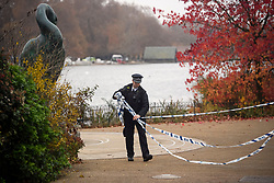 © Licensed to London News Pictures. 16/11/2018. London, UK. A police cordon around the Serpentine Lake in Hyde Park following reports of the discovery of an object that could be unexploded ordnance. Photo credit: Ben Cawthra/LNP