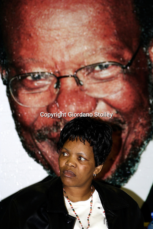 DURBAN - 5 November 2005 - IFP Chairperson Zanele Magwaza listens as IPF president Mangosuthu Buthelezi speaks - also behinde her in the poster at the IFP provincial executive elections in Umlazi. The elections were brought about as a result of the defection of senior party members during the so called floor crossing period.Picture: Giordano Stolley