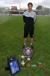 Yeovil Town's Sam Foley poses with his awards - Photo mandatory by-line: Harry Trump/JMP - Mobile: 07966 386802 - 25/04/15 - SPORT - FOOTBALL - Sky Bet League One - Yeovil Town v Port Vale - Huish Park, Yeovil, England.