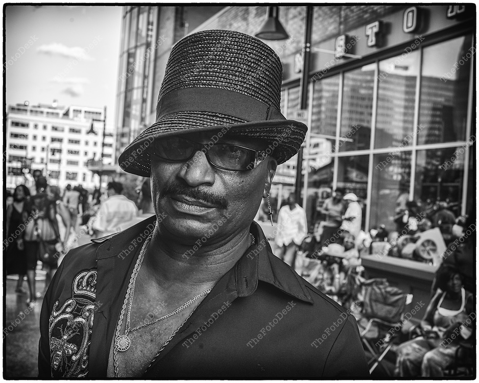 NEWARK, NEW JERSEY: Alfred, a designer and stylist, at he weekly Block Party on Edison Plaice in Newark, NJ on Friday, July 30, 2021 (Brian B Price/TheFotodesk).