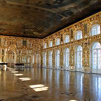 Europe, Russia, Pushkin. The newly restored Grand Ballroom at Catherine Palace.
