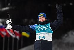 February 12, 2018 - Pyeongchang, SOUTH KOREA - 180212  Sebastian Samuelsson of Sweden, Silver, celebrates after in the Men's Biathlon 12,5km Pursuit during day three of the 2018 Winter Olympics on February 12, 2018 in Pyeongchang..Photo: Jon Olav Nesvold / BILDBYRN / kod JE / 160157 (Credit Image: © Jon Olav Nesvold/Bildbyran via ZUMA Press)