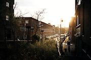 Straatbeeld Duindorp, Den Haag. Vrouw laat hondje uit tijdens zonsopkomst in de Bevelandsestraat. | Street view Duindorp, The Hague. Woman walks doggy during sunrise in Bevelandsestraat