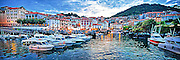 Panorama evening at the harbor in Mundaka, Spain