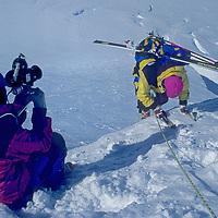 ANTARCTICA. Warren Miller filming team below Detroit Plateau, Danco Coast, Antarctic Peninsula. (Cameraman Bill Heath & Tom Day.)