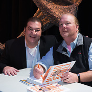 Chef and author Mario Batali during a backstage book signing after speaking at a Writers on a New England Stage show at The Music Hall in Portsmouth, NH