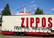 Zippos circus truck having been subject to a grafitti comment that they are Animal Abusers. No doubt carried out by animal rights / welfare activists. London.