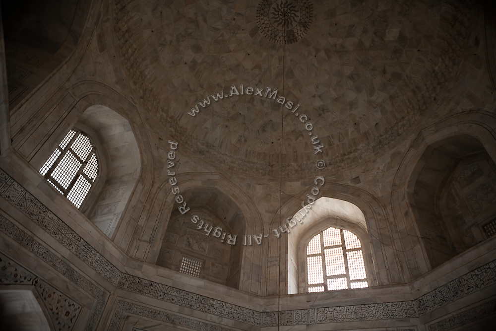 The main vault is overlooking the tombs of  Mughal emperor Shah Jahan and his third wife, Mumtaz Mahal, in the name of which the Taj Mahal mausoleum was also built and completed around the year 1653, in Agra.