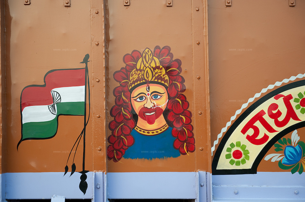 Truck decoration on the grand trunk road near Kolkata, India