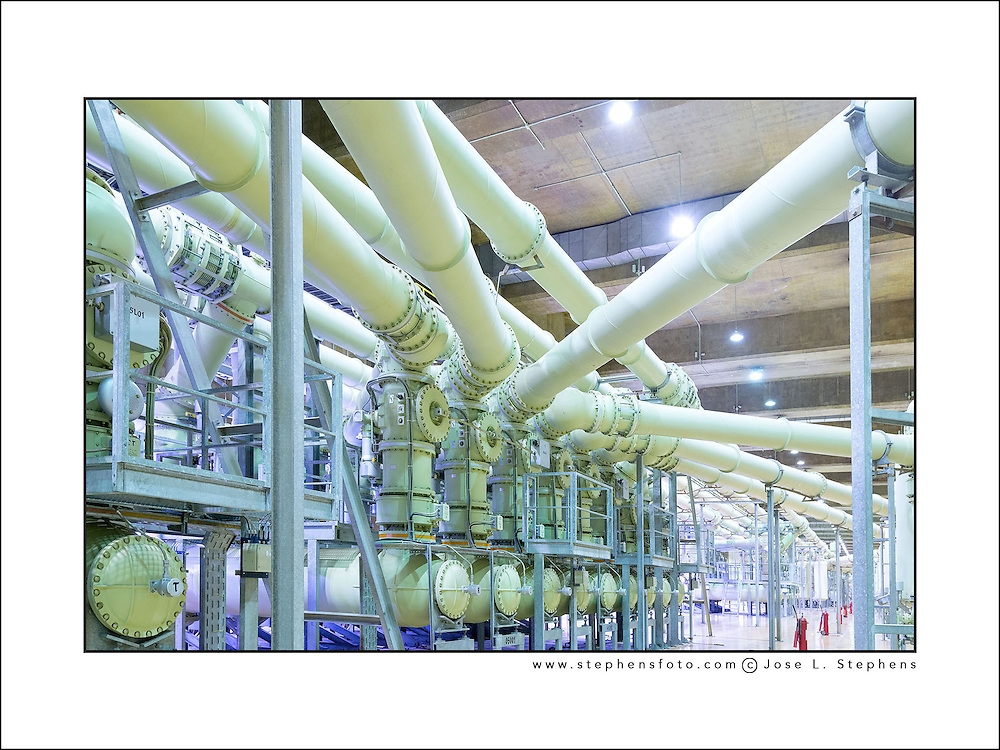 Underground interior electric substation inside the Itaipu dam in the border of Brazil and Paraguay