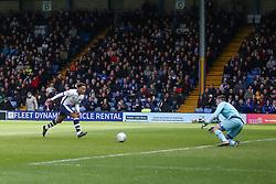 Nicky Maynard of Bury runs through on goal but hits his shot straight at the keeper - Mandatory by-line: JMP - 04/05/2019 - FOOTBALL - Gigg Lane - Bury, England - Bury v Port Vale - Sky Bet League Two