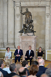 18.06.2014, Royal Palace, Madrid, ESP, Abdankung König Juan Carlos, Unterzeihnung der Abdankungspapiere, im Bild (L-R) Queen Sofia of Spain, Prince Felipe of Spain, King Juan Carlos of Spain and Princess Letizia of Spain // during the official abdication ceremony at the Royal Palace in Madrid, Spain on 2014/06/18. EXPA Pictures © 2014, PhotoCredit: EXPA/ Alterphotos/ Acero<br /> <br /> *****ATTENTION - OUT of ESP, SUI*****